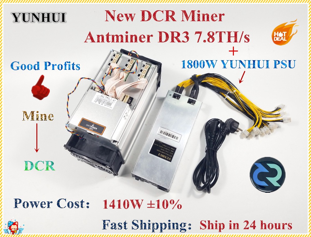 Date Antminer DR3 7.8TH/S Avec PSU Blake256R14 DCR Mineur Mieux Que Innosilicon D9 WhatsMiner D1 FFMINER Z9 Mini s9 S9j