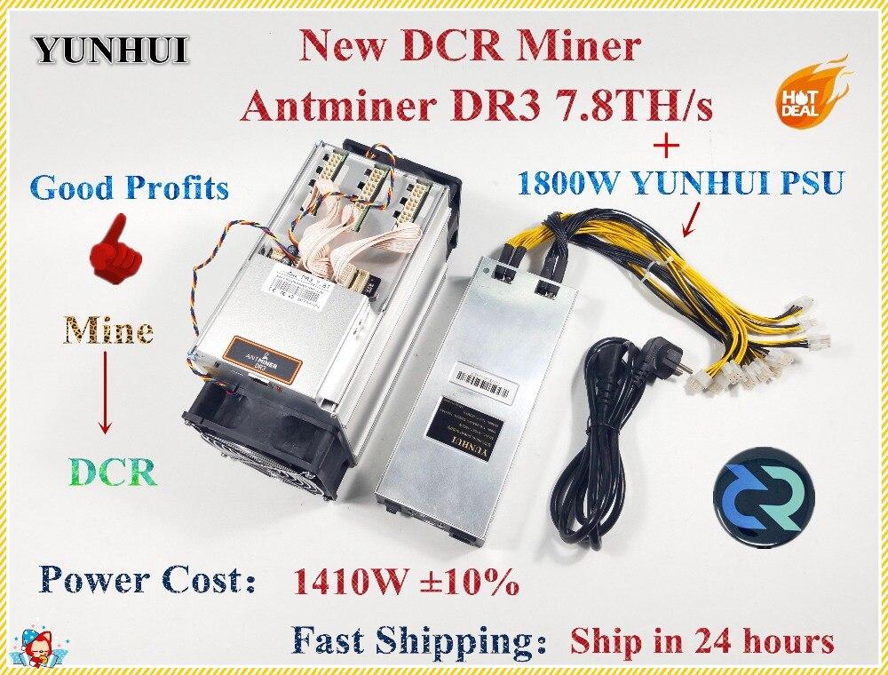 Date Antminer DR3 7.8TH/S Avec PSU Blake256R14 DCR Mineur Mieux Que Innosilicon D9 WhatsMiner D1 FFMINER Z9 Mini s9 S9j