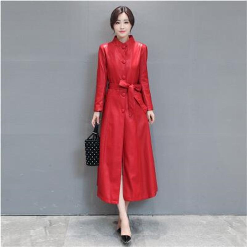 black red Mode Hiver Femmes 2019 Qualité Wlx141 Véritable Veste Cuir Solide Manteau Manches Gray New Longues À Haute En Couleur Mince De bIY76fmgyv