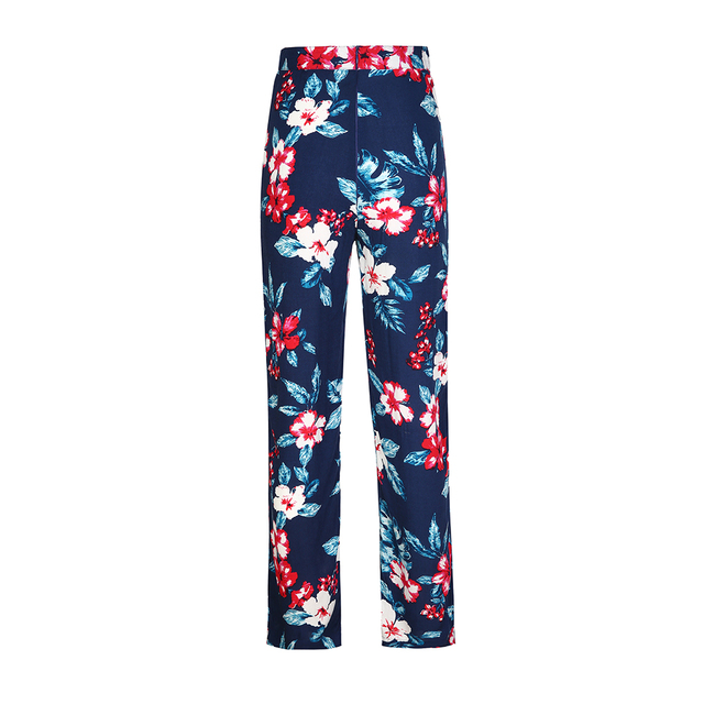 Floral Print Loose Retro Comfortable Casual Ladies Trousers 4