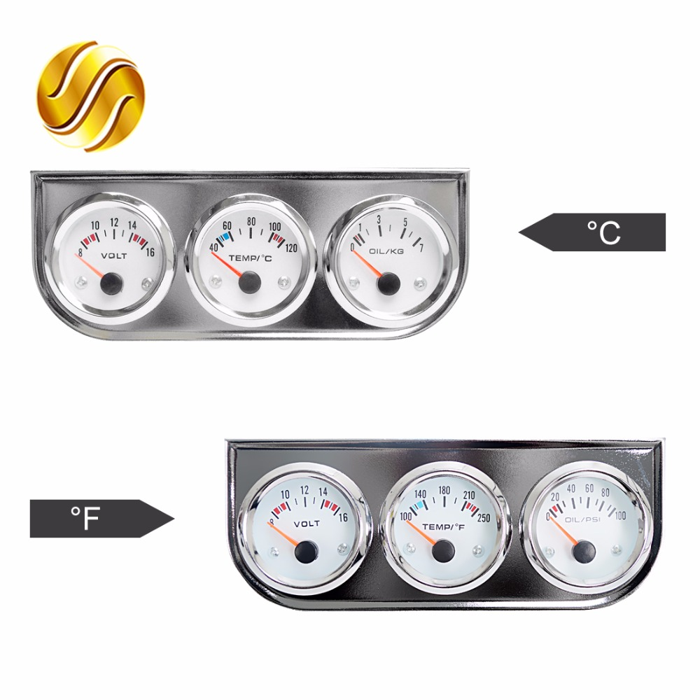 Fahrenheit Water Temperature White Dial Face, Black Bezel Oil Pressure with Sensor SINOVCLE Triple Gauge Kit 2 Voltage