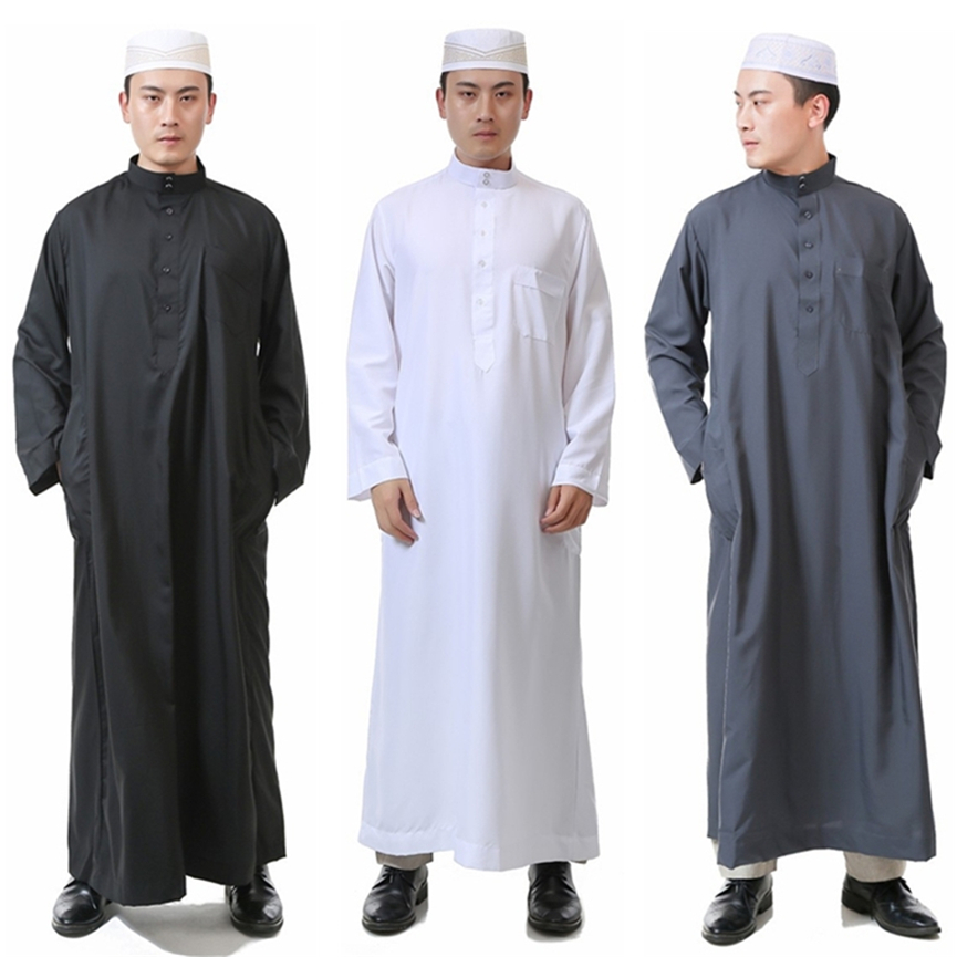 Arab Male Islamic Clothing for Men Saudi Arabia Jubba Thobe Abaya Eid Traditional Solid Robes Allah Salam Arab Clothes 52-62