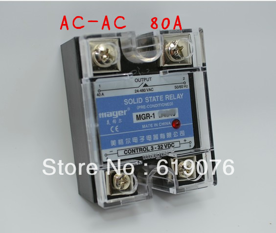 Mager  SSR 80A  AC-AC Solid state relay  Quality Goods MGR-1 A4880A high quality ac ac 80 250v 24 380v 60a 4 screw terminal 1 phase solid state relay w heatsink