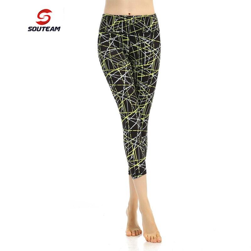 Prix pour SOUTEAM Marque Femmes Yoga Fitness Capri Pantalon Serré Sport Confortable Pantalon La élastique Yoga Capri Leggings Pour Femme # S160013-2