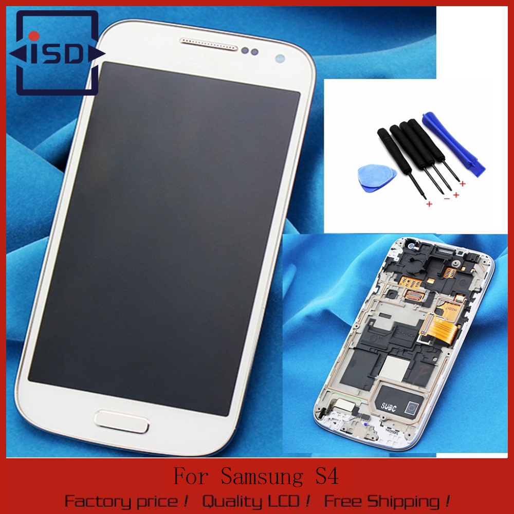 White For Samsung Galaxy s4 mini i9190 i9195 Lcd display touch screen with digitizer+Bezel Frame Assembly+Tools,free shipping