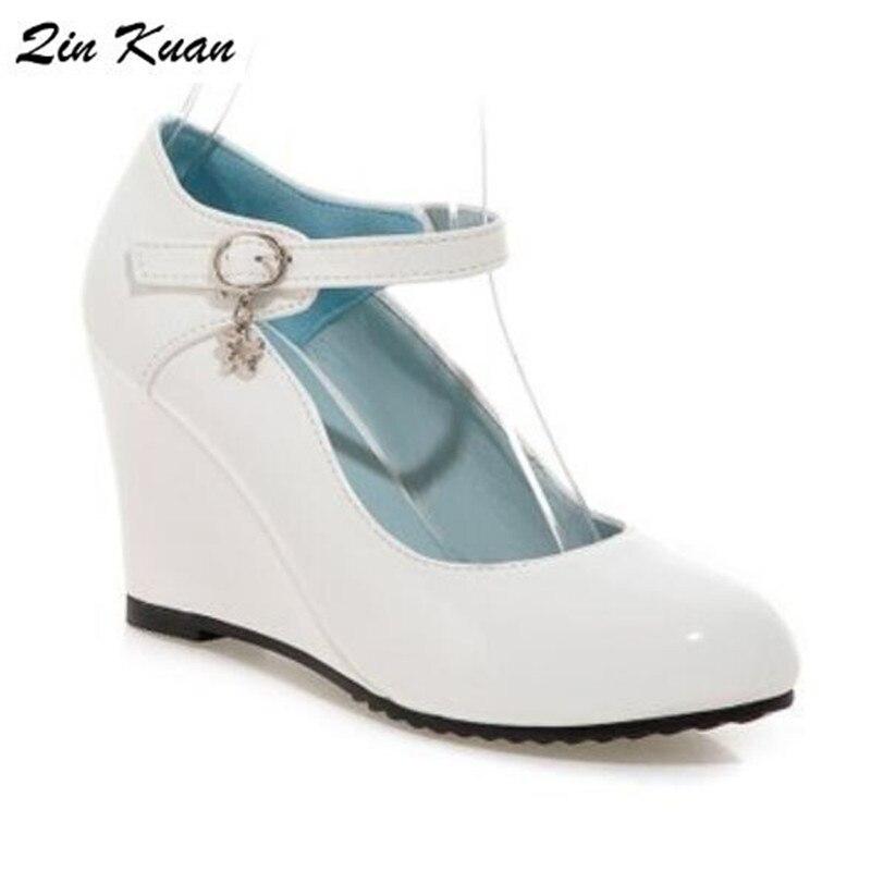 Cheville Hauts white Chaussures Qkp0161b Black À Printemps Bout Quotidienne Dames Automne Talons En Doux Verni Cuir pink Femmes Pompes Rond Boucle Parti Mode pBPwZZ