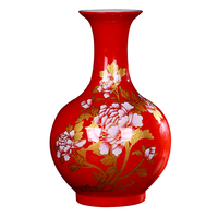 Jingdezhen ceramics Modern China red peony vases, flower receptacle Household decoration crafts are sitting room