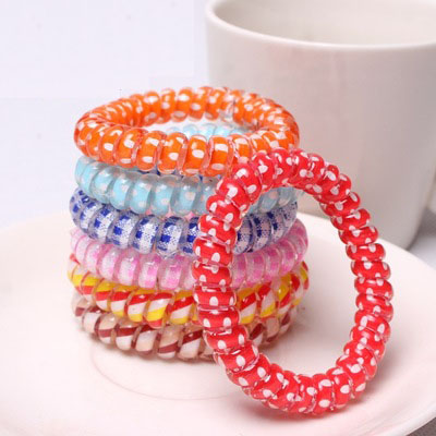 by DHL or EMS 10Bags 100pcs/Bag multi-color Telephone Wire Cord Girl Baby Elastic head T ...