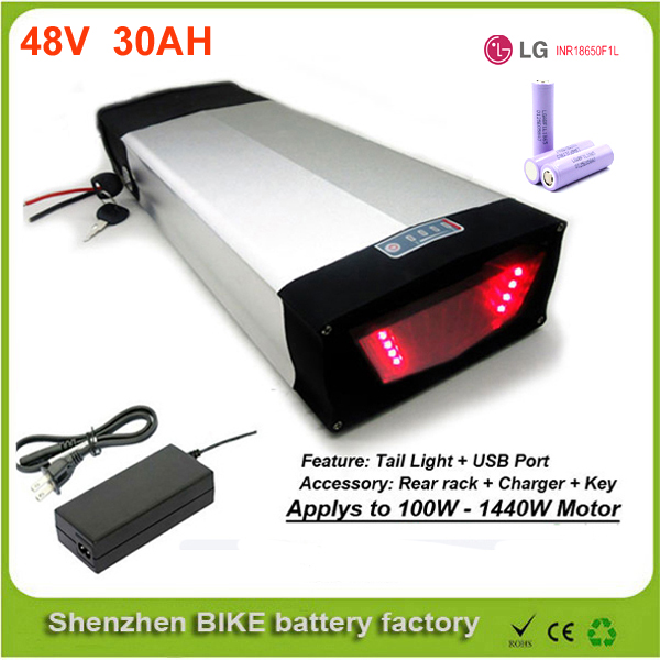 Rear carry 48v lithium ion battery 48v 30ah e bike battery for 1000w 48v electric bike battery with USB port  Use LG 18650 cell 48v 34ah triangle lithium battery 48v ebike battery 48v 1000w li ion battery pack for electric bicycle for lg 18650 cell