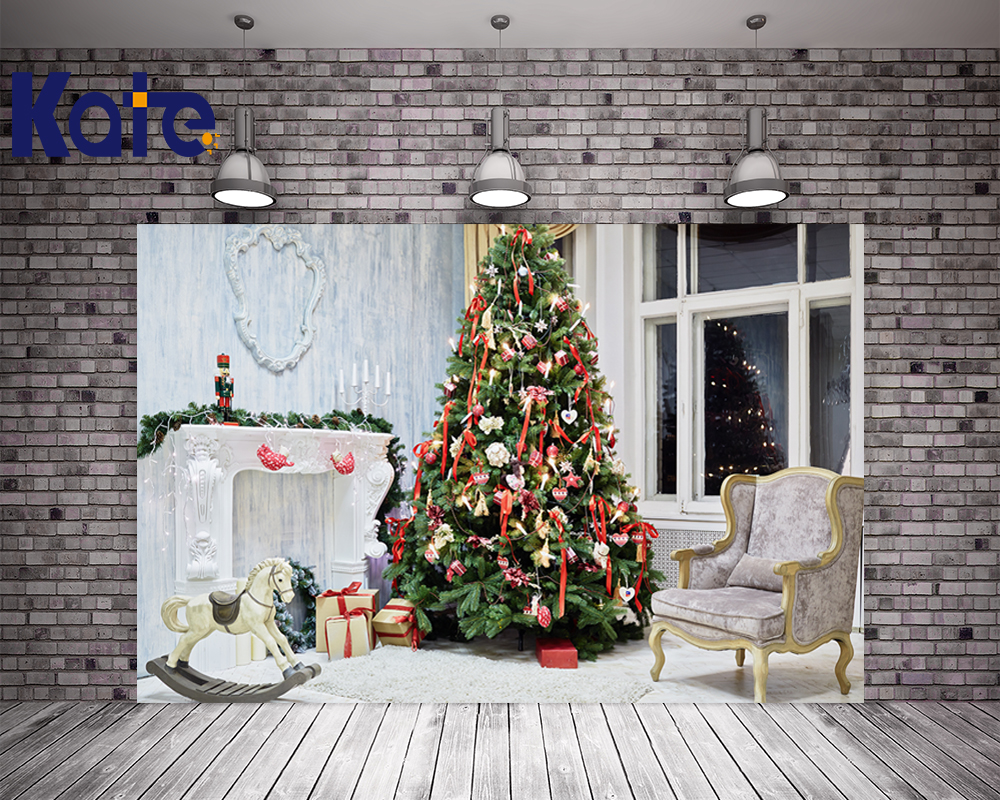 цены Kate Christmas Backdrop Photography Christmas Tree White Pony Background White Floor For Children Photo Studio Background