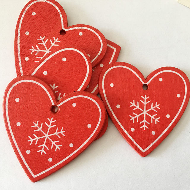 New 10pcs/Lot  Xmas Tree Decoration For Home Natural Wood Red 5CM Christmas Ornaments Snowflakes Pendant Hanging Gifts Wedding 17