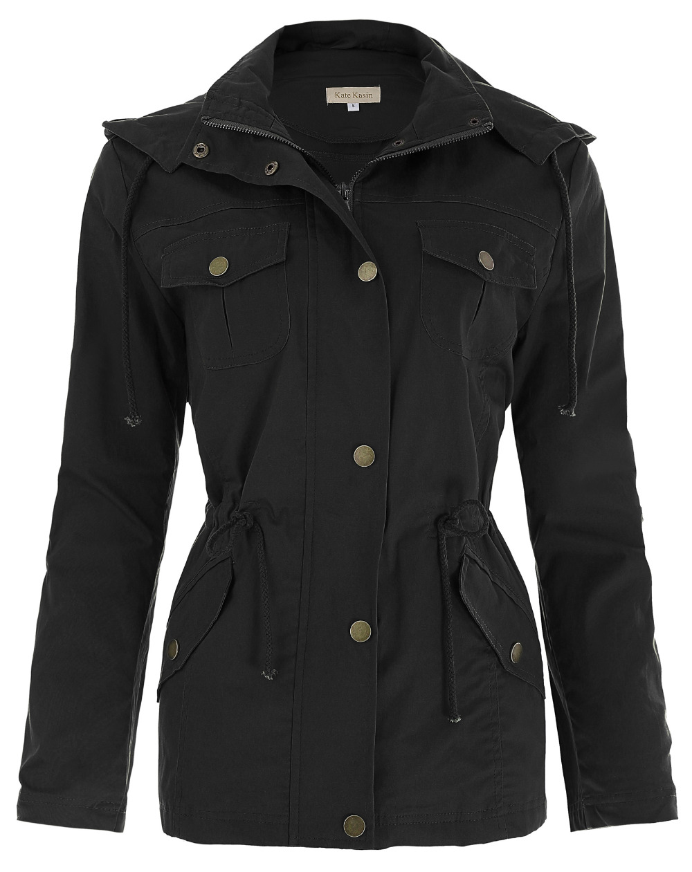 black Autumn Womens Jackets Military Cotton solid color Drawstring Pocket fall Hooded Jacket Coat Outerwear Ladies Overcoat Tops
