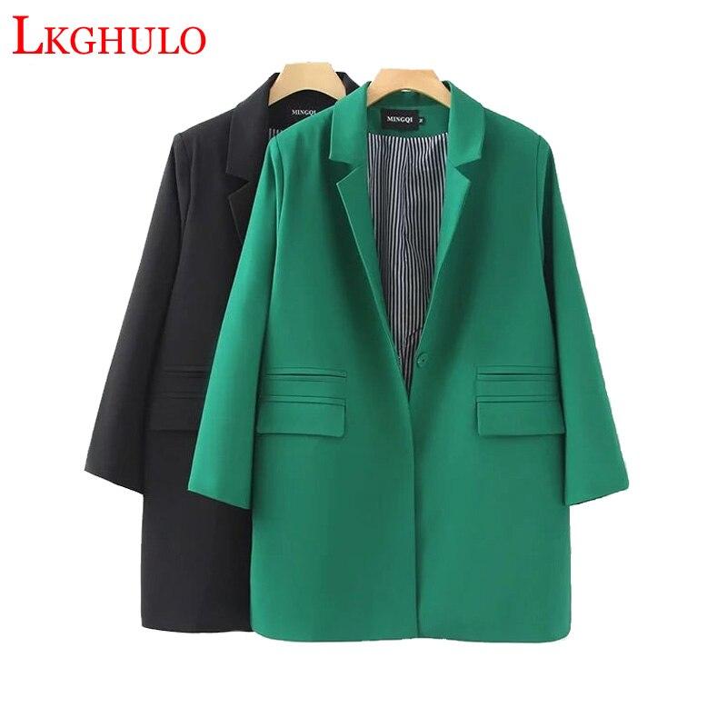 2018 Solide Femelle Automne Longues Chaude La Et A470 Blazers Casual Vente black Printemps Green Costumes Plus Large Femmes Veste Taille Vestes nn6z0xWO