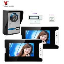 Yobang Security freeship 7″ color video door phone wired village video intercom video door bell phone+Electric lock