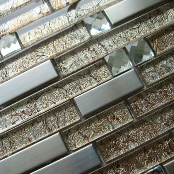 Steel Tile Backsplash Interlocking Strip Crystal Glass Amber Metal Blend Mosaic Design Bathroom Wall Stickers Kitchen