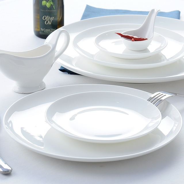 10 inch plain white bone china wedding plate ceramic vintage rice plate tableware : plain white dinnerware - pezcame.com