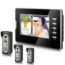 YobangSecurity 7″ Color Video Door Phone Door Chime Wired Video Intercom Doorbell Intercom System 3 Camera 1 Monitor for Home