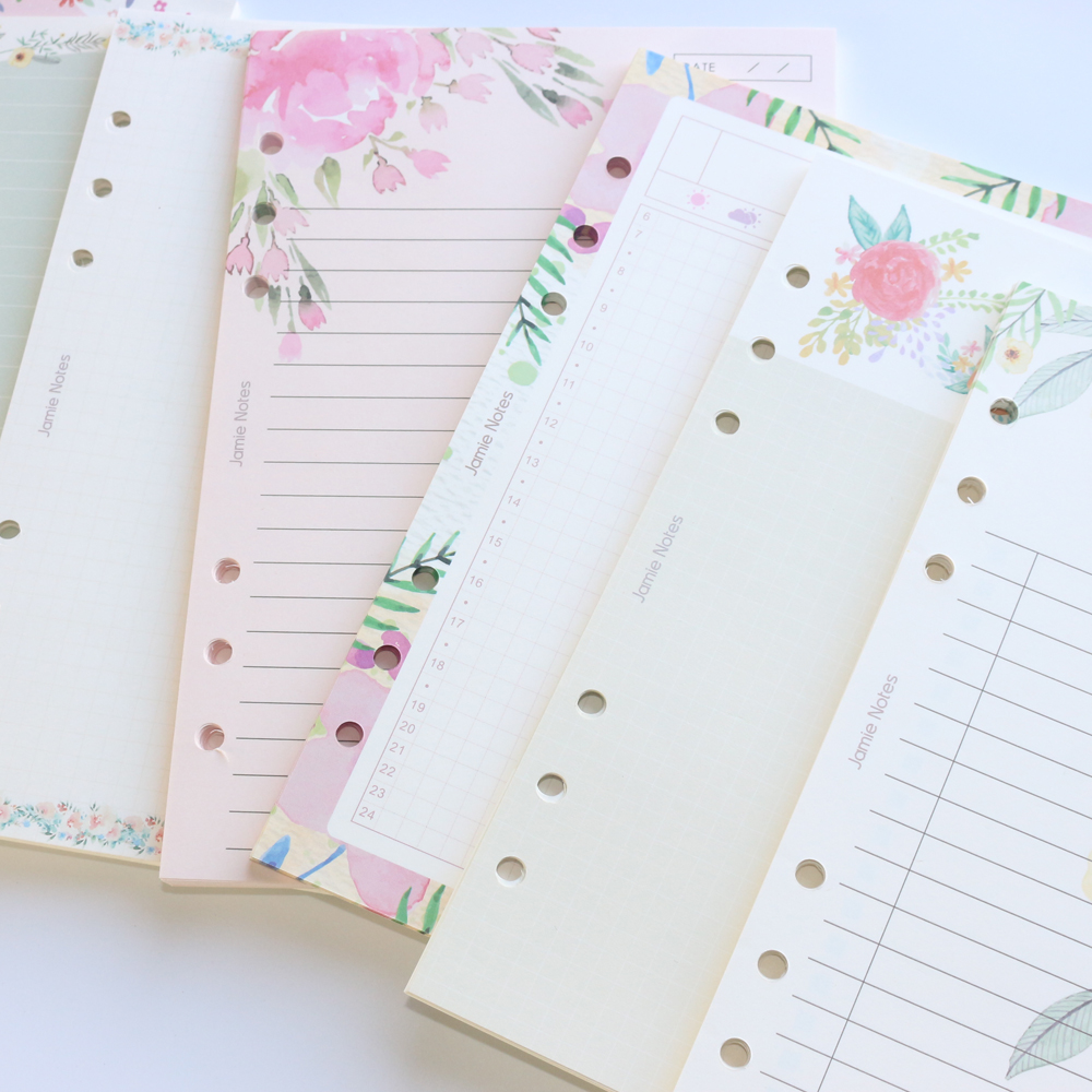 Domikee Cute Cartoon Flower Design 6 Holes School Binder Spiral Notebooks Replacement Inner Papers Core Stationery,6 Kinds, A5A6