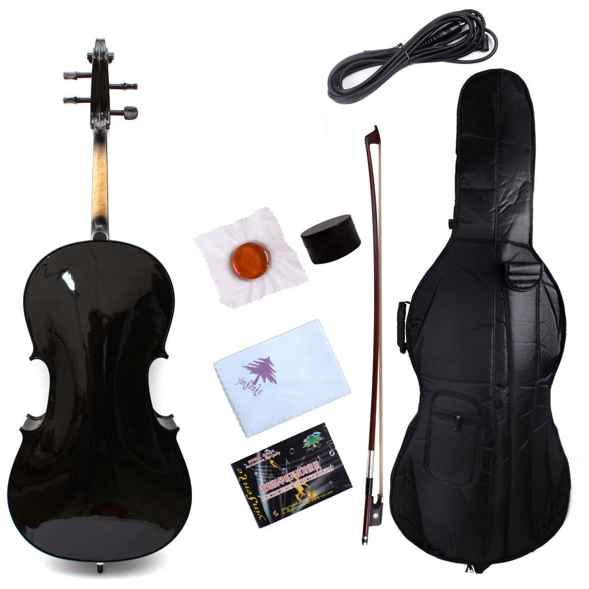 Yinfente Cello 4/4 Electric Cello Acoustic Hand Made Maple Spruce Black Color #4