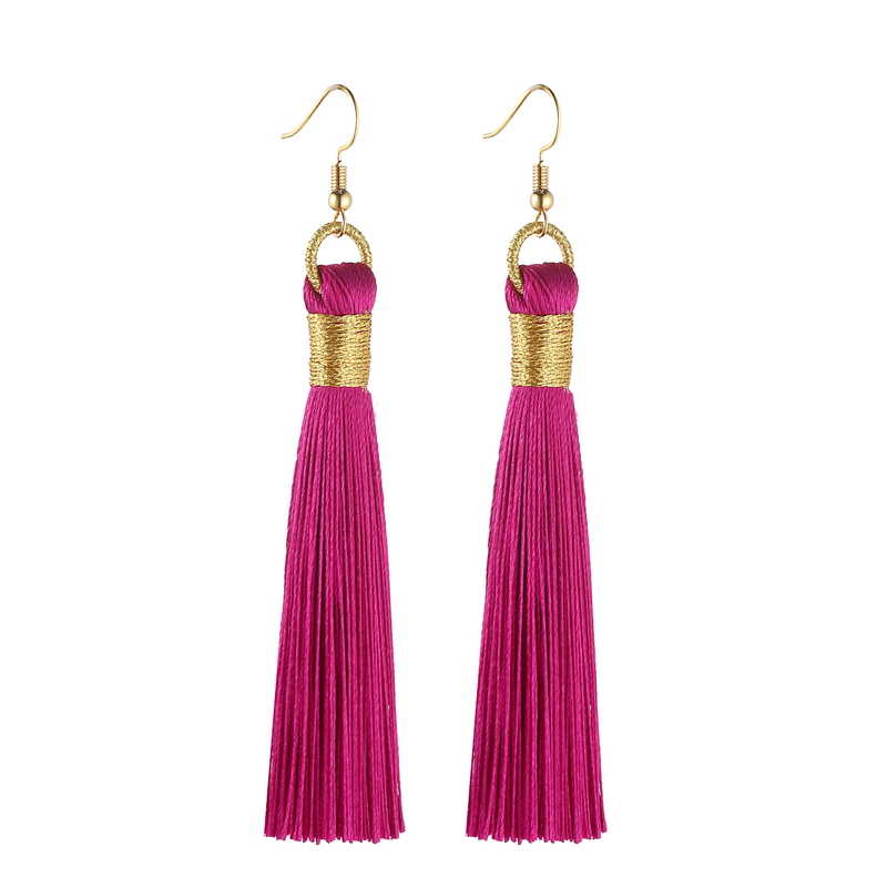 LOVBEAFAS Tassel Earrings For Women Statement Fashion Jewelry Drop Dangle Long Earrings Golden Wrap Silk Fabric Vintage Earrings
