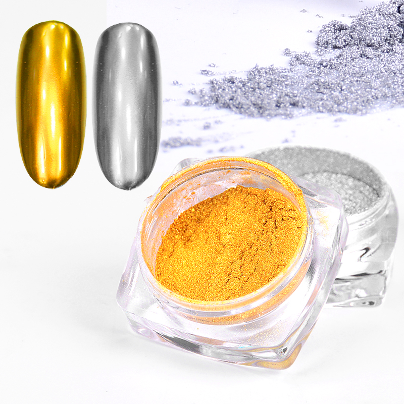 1PCS Nail Glitter Polishing For Nails Mirror Effect Powder Chrome Pigment Decorations Golden/ Sliver Nail Powder