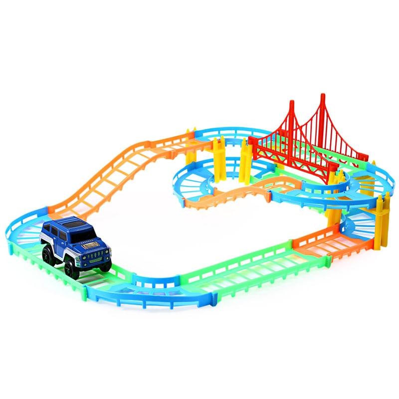 free shipping kids toys car oyuncak diy multi track rail car racing track building blocks