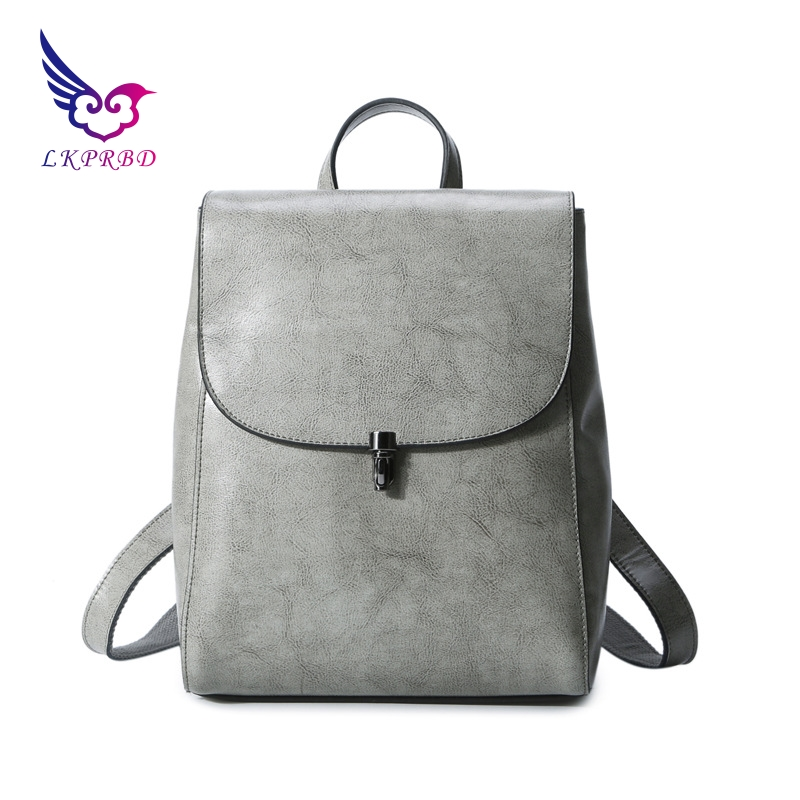 lkprbd new hot 100% leather women's bag, women's shoulder bag fashion, Lewis, Europe and America style fan cowboy backpack. aetoo the new oil wax cow leather bags real leather bag fashion in europe and america big capacity of the bag