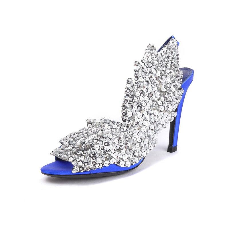 Модные блестящие Обувь на высоком каблуке 2018 г. летние босоножки Для женщин новые Блестки блестка Крылья блестящие босоножки пикантные атласные вечерние туфли на высоком каблуке - 2