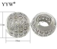 10PCs/Lot new fashion Drum  plated micro pave cubic zirconia & without troll Brass European Beads