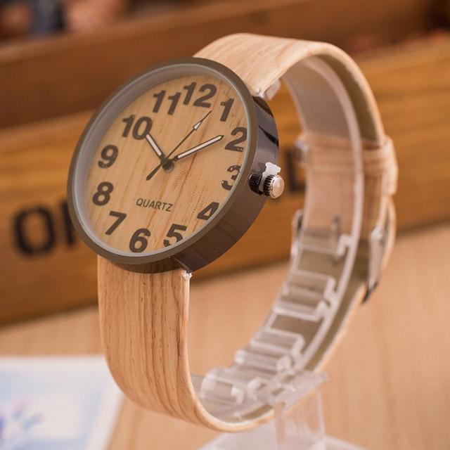 Aimecor High Quality Style Wood Grain Leather Quartz Watch Women Dress Wristwatches Reloj relogio