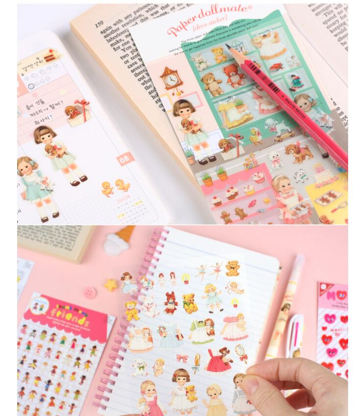 1sheet/pack Kawaii Doll girls Sticker For Kid DIY Product Decoration Scrapbooking Stickers Cute Animal Lovely party