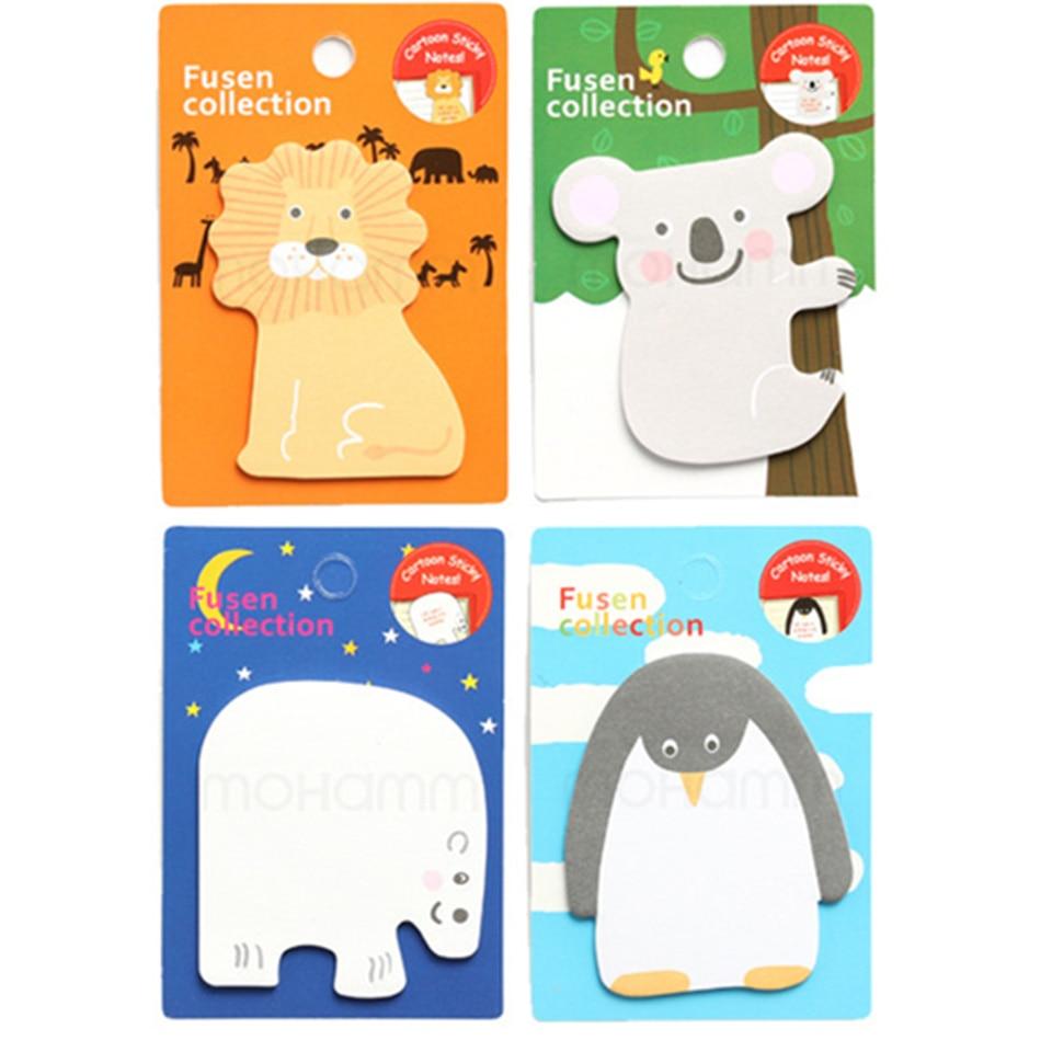 4 Pcs Cute Kawaii Korean Japanese Animal Lion Penguin Sticky Notes Post Memo Pad Paper Kids School Office Supplies Stationery