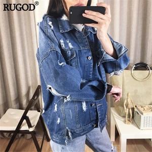 Image 4 - RUGOD płaszcz typu Basic bombowce tkanina w stylu Vintage Patchwork kurtka dżinsowa kobiet kowbojski dżins 2019 jesień postrzępione poszarpane dziury kurtka dżinsowa