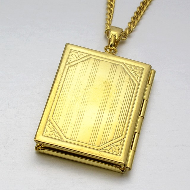 Online shop 24kgp gold tone islamic god allah quran koran book 24kgp gold tone islamic god allah quran koran book locket charm pendant necklace 60cm gift for muslim aloadofball Gallery