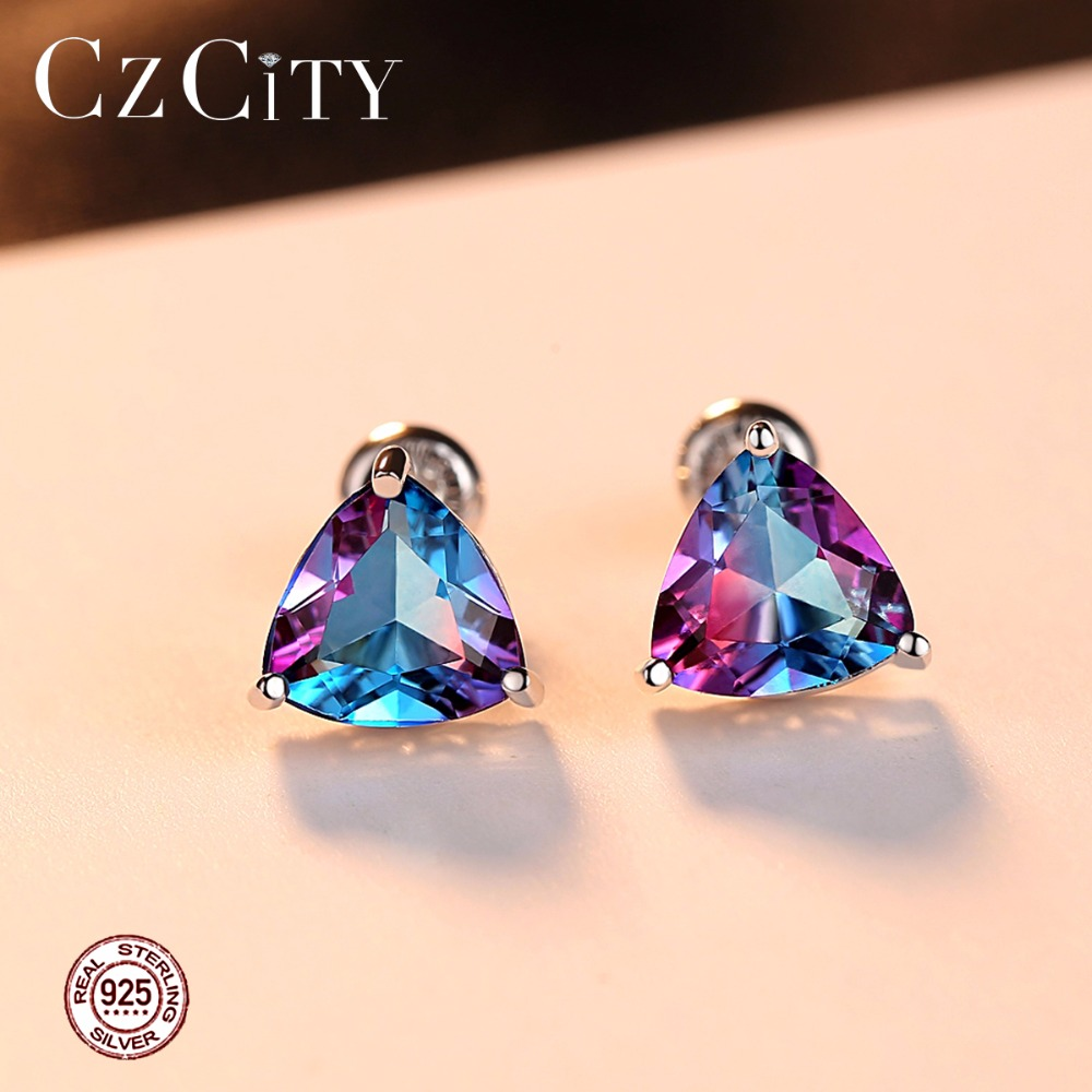 CZCITY Luxury Rainbow Topaz Stud Earrings Real 100 925 Sterling Silver Fashion Women Earring Jewelry Wholesale in Earrings from Jewelry Accessories