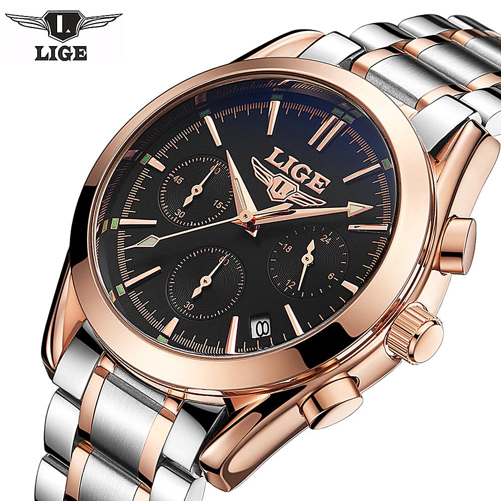 Prix pour LIGE Top De Luxe de Marque Hommes Sport Militaire Montres Hommes Horloge À Quartz Homme En Acier Plein Montre-Bracelet D'affaires Décontractée Relogio Masculion