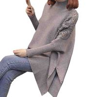 Thick WarmnTurtleneck Long Women Sweater 2019 Autumn Winter Loose knitted Pullover Sweater Female Bat sleeve Jumper Tricot Tops