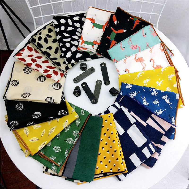 Good quality 50X50CM Autumn New animal printed cotton linen women scarves female Korean decorative multipurpose girls kid scarf