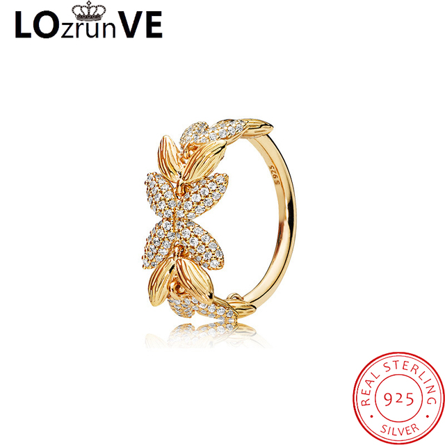 LOZRUNVE 2018 original brand 925 sterling silver jewelry seed wheat grain gold plated fashion finger ring women factory wholesal