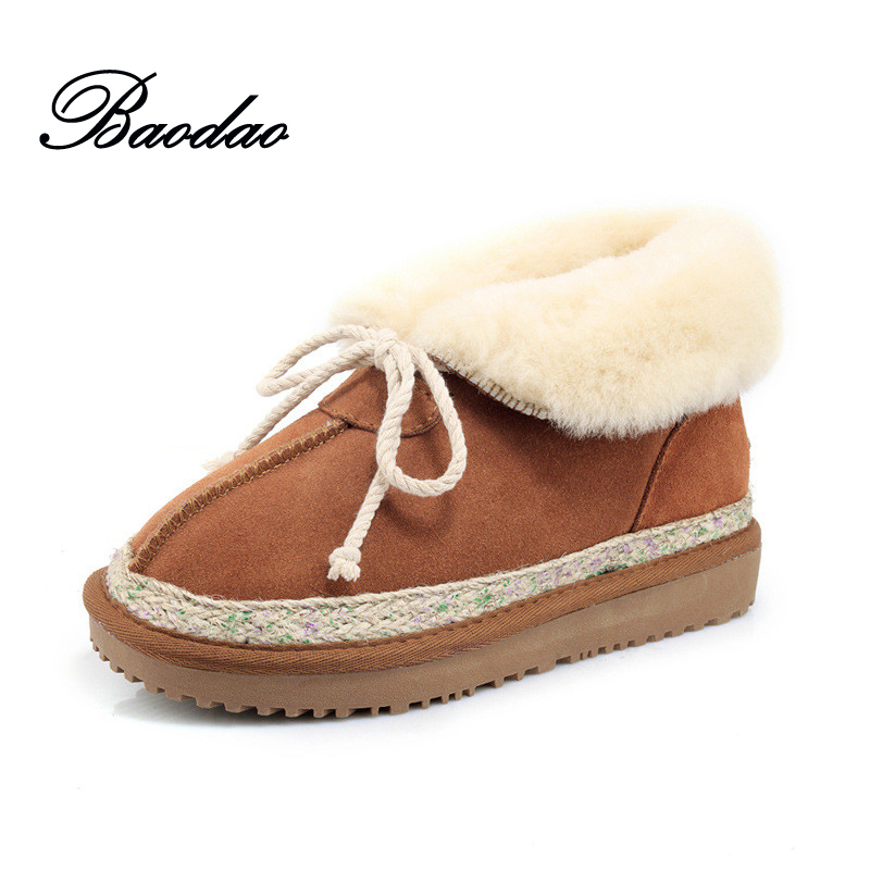 2017 New Women Boots Ankle High Genuine Leather Short Botas with Bowknot Plush Inside Super Warm Female Winter Shoes Size 35-40