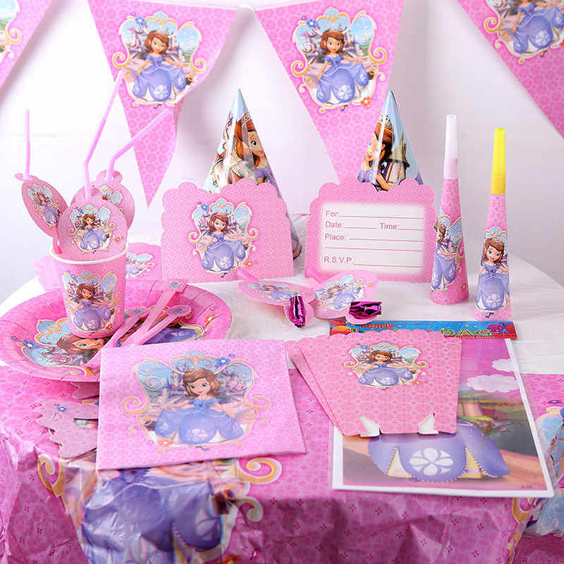 Princess Theme Birthday Party Decor Paper Cup Plate Napkin Banner/Flag Straw Tablecloth Tableware Set Baby Shower Party Supplies