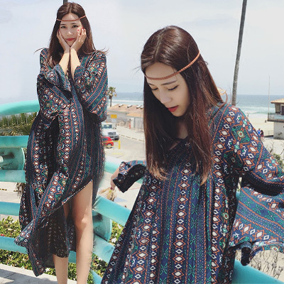 The Mast Size Women Trumpet Sleeves Thailand Long Skirts Long Loose Fork Plus 2019 Dresses In Summer In Bohemia