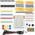 1 Unidades Kit Portable Práctico LED Resistor Condensador Breadboard Jumper Cables para Arduino Starter Kit
