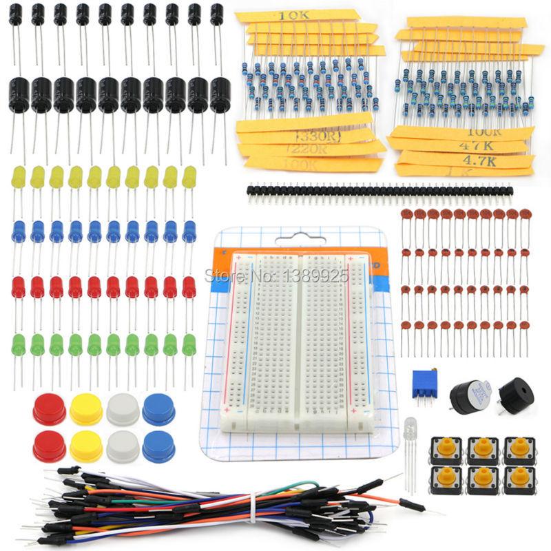1 set Portable Kit Resistor LED Capacitor Jumper Wires Breadboard for Diy Handy Starter Kit