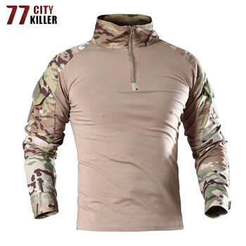 77City Killer Tactical Army T Shirt Men Combat Camouflage T Shirt Military Force Multicam Camo