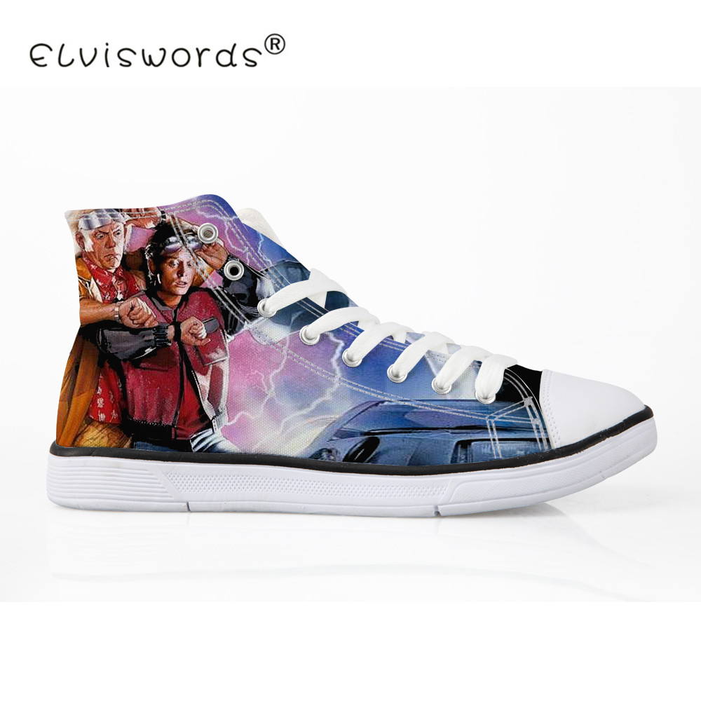 ELVISWORDS Men Vulcanize Shoes Back to the Future Print Male Canvas Shoes Summer Spring Flats Cool Sneakers Boys Zapatos Hombre