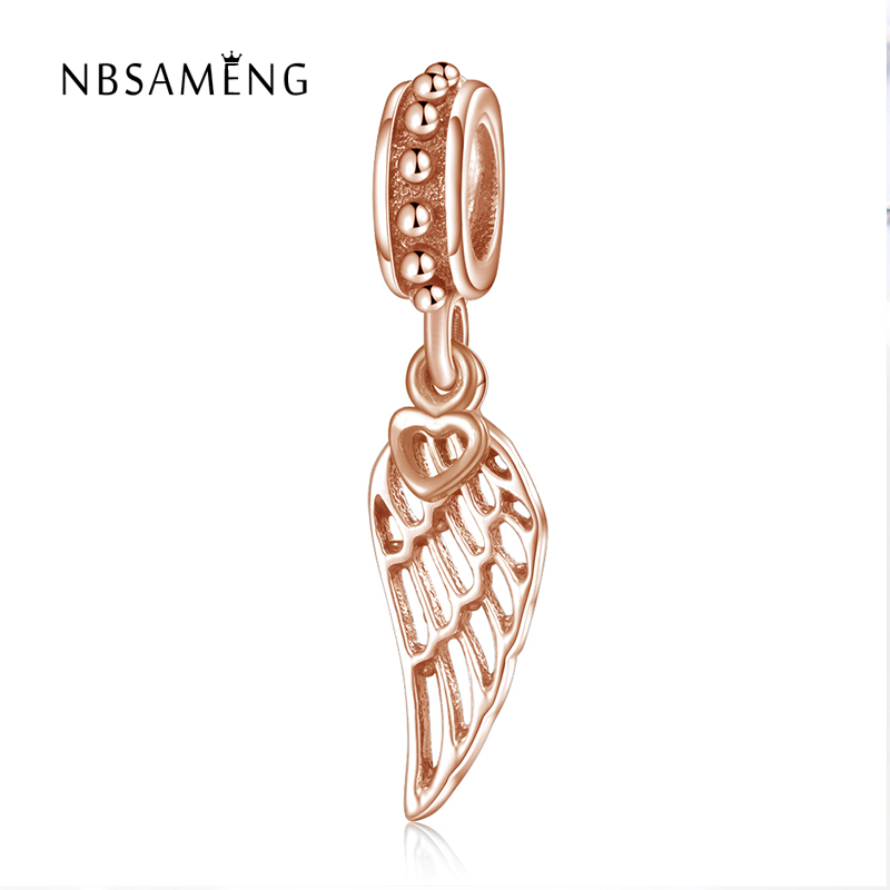 Hot Sale 925 Sterling Silver Bead Rose Gold Color Angle Wing Pendant Beads Charm Fit Pan ...