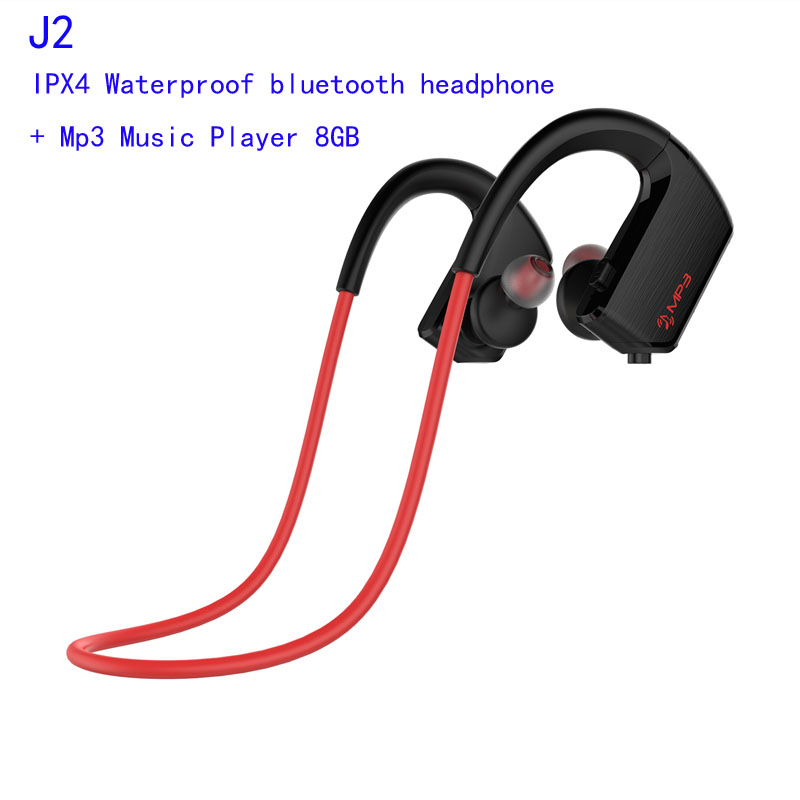 J2 Waterproof Wireless  Bluetooth Headphone Fone De Ouvido Sweat-proof Sport Headset MP3 Player 8GB Earphone for Phone Kulaklik bluetooth earphone headphone for iphone samsung xiaomi fone de ouvido qkz qg8 bluetooth headset sport wireless hifi music stereo