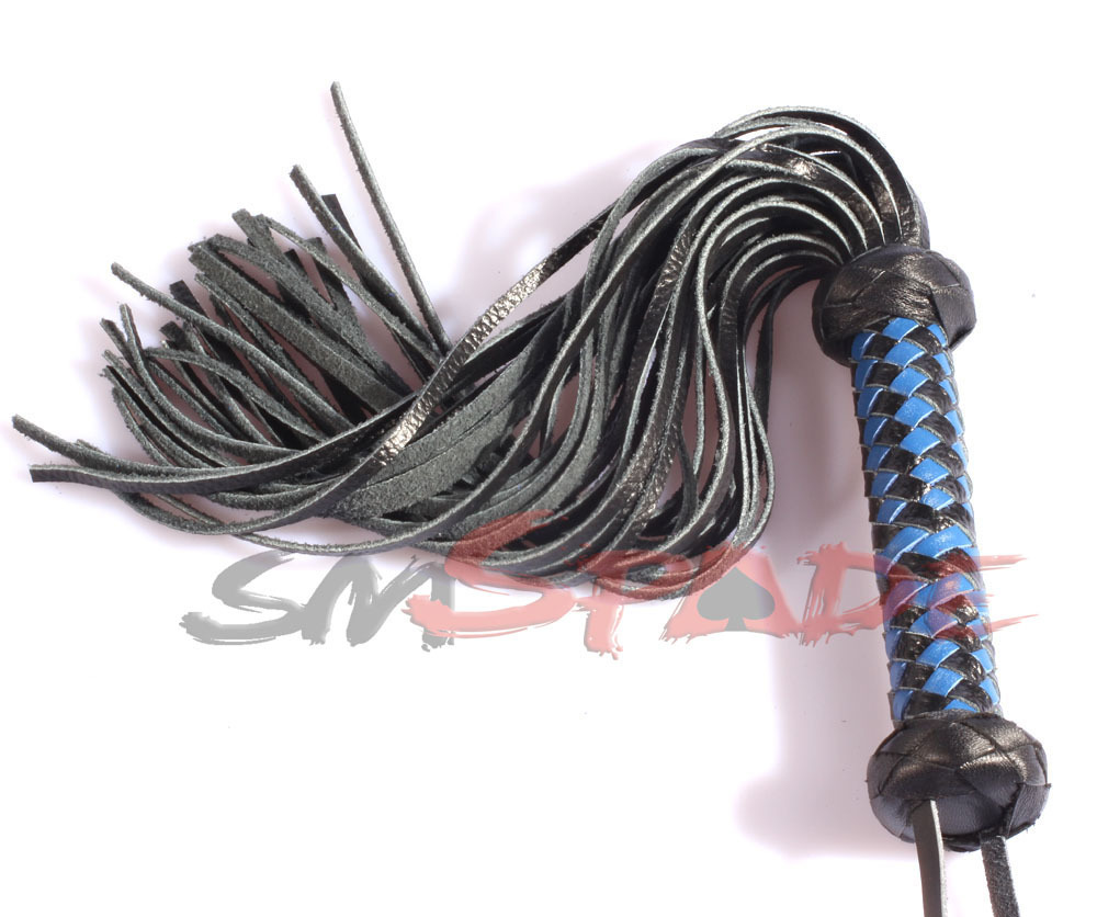40cm Real leather black&blue spanking flogger, suede knit whip, adult flirting man-made leather knout sex toys