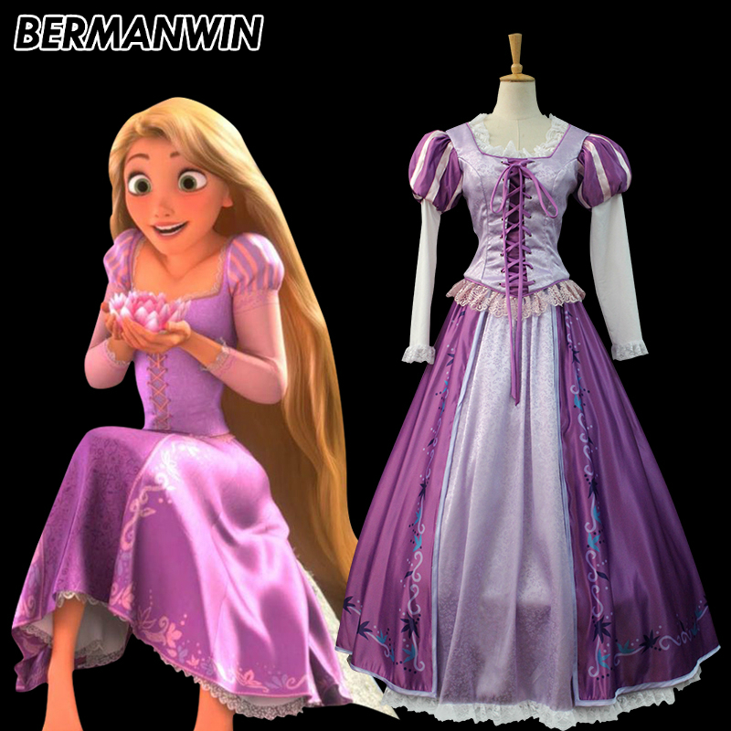 BERMANWIN Tangled Rapunzel Cosplay Costume Halloween Cosplay Princess Rapunzel Costume Fancy Printing Purple Rapunzel Dress
